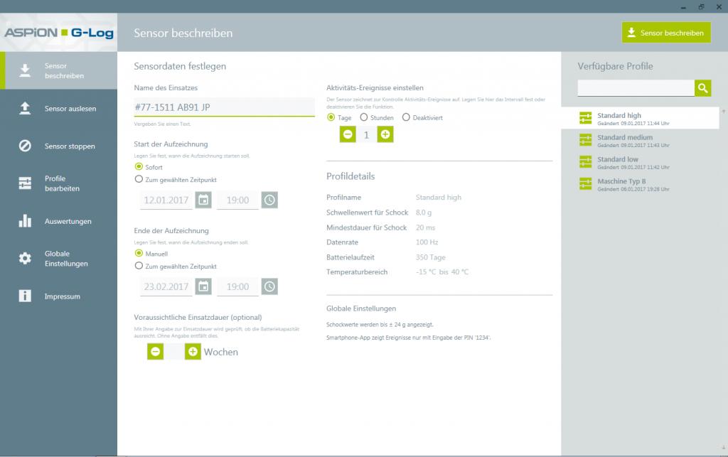 Flexible Transportüberwachung: Zeitgesteuerter Einsatz der ASPION G-Log Sensoren